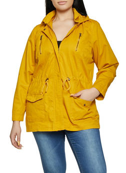 Plus Size Drawstring Waist Anorak Jacket - 1886051069620