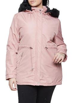 Plus Size Sherpa Lined Hood Parka - 1886054261511