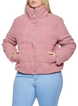 Plus Size Corduroy Puffer Jacket - 1886054261516