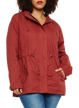 Plus Size Twill Hooded Anorak Jacket - 1886054264010