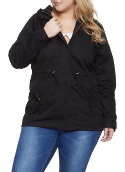 Plus Size Hooded Anorak Jacket - 1886054265431