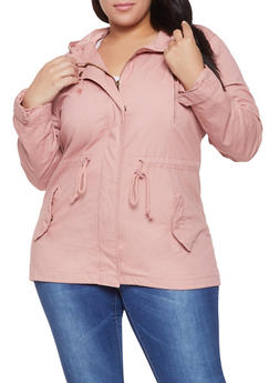 Plus Size Hooded Anorak Jacket - 1886054265431