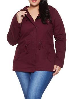 a6ec5815cd2 Plus Size Hooded Anorak Jacket - 1886054265431