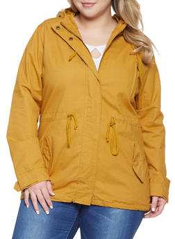 Plus Size Drawstring Hooded Anorak Jacket - 1886054265431