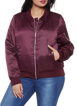 Plus Size Satin Bomber Jacket - 1886054268730