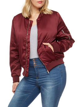 Plus Size Zip Sleeve Bomber Jacket - 1886054268873