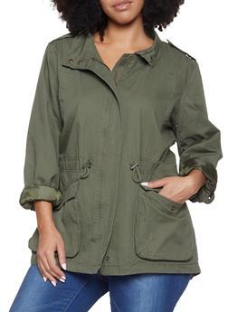 Plus Size Twill Anorak Jacket - 1886054268877