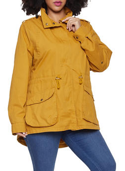 Plus Size Twill Anorak Jacket - 1886054268877
