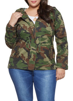 Plus Size Camo Anorak Jacket - 1886054268881