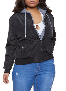 Plus Size Hooded Bomber Jacket - 1886054269225