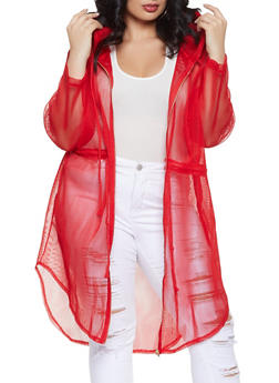 Plus Size Zip Up Hooded Mesh Coat - 1886062122598