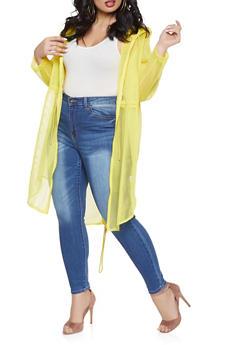 Plus Size Zip Up Hooded Mesh Coat - 1886062122598