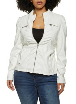 Plus Size Ruched Faux Leather Jacket - 1887051060495