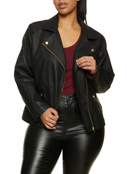 Plus Size Asymmetrical Zip Faux Leather Jacket - 1887051061511