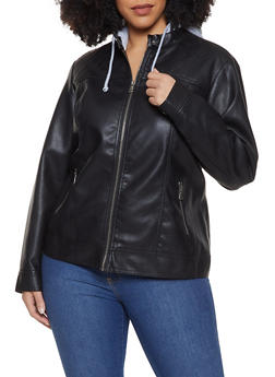 Plus Size Hooded Faux Leather Moto Jacket - 1887051062000
