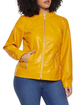 9e88a40d0aaac Plus Size Faux Leather Smocked Waist Jacket - 1887051062070