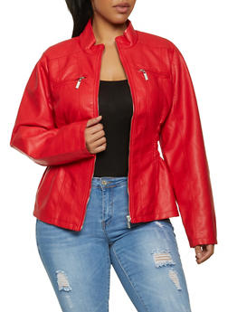 Plus Size Ruched Faux Leather Zip Jacket - 1887051062927