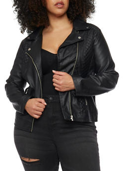 Plus Size Quilted Zip Faux Leather Moto Jacket - 1887051065053
