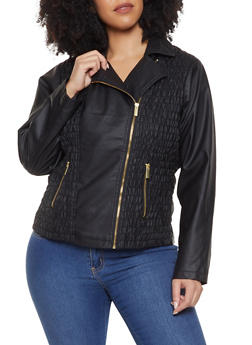 Plus Size Ruched Faux Leather Moto Jacket - 1887051065635