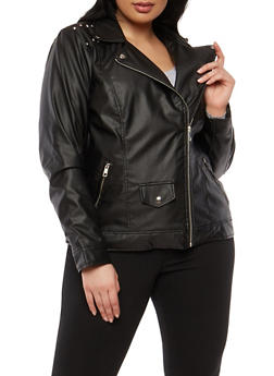 Plus Size Faux Leather Moto Jacket - 1887051066201