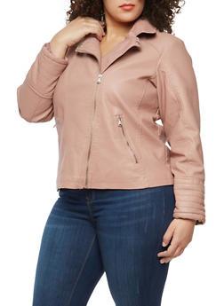 Plus Size Side Zip Faux Leather Moto Jacket - 1887051066204