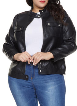 Plus Size Faux Leather Moto Jacket - 1887051066262