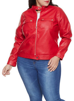 Plus Size Faux Leather Moto Jacket - 1887051066262