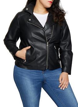6ca99d8aa10e6 Plus Size Zip Front Faux Leather Moto Jacket - 1887051066333