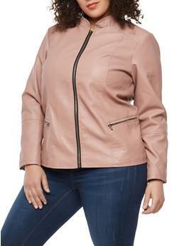 Plus Size Stitch Detail Faux Leather Jacket - 1887051066337
