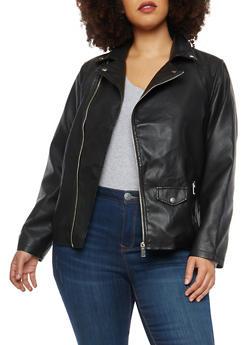 Plus Size Side Zip Faux Leather Jacket - 1887051066545