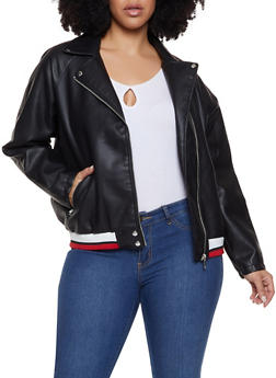 Plus Size Striped Waist Moto Jacket - 1887051066920