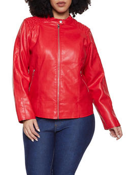 Plus Size Smocked Shoulder Moto Jacket - 1887051067061