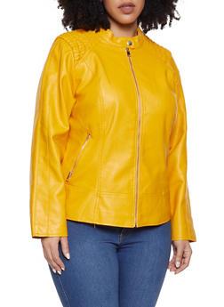 d1c3ccaa5c5ad Plus Size Smocked Shoulder Moto Jacket - 1887051067061
