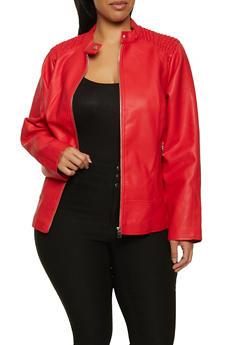 Plus Size Ruched Shoulder Faux Leather Moto Jacket - 1887051067062