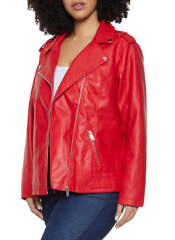 Plus Size Faux Leather Moto Jacket - 1887051067153
