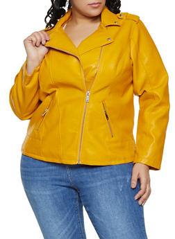 74dd8b749a2b4 Yellow Plus Size Faux Leather Jackets
