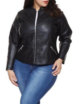 Plus Size Faux Leather Jacket - 1887051067220