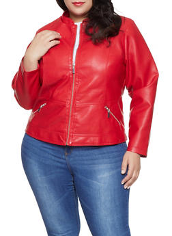 Plus Size Faux Leather Jacket - 1887051067220
