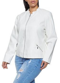 Plus Size Zip Pocket Faux Leather Jacket - 1887051067221