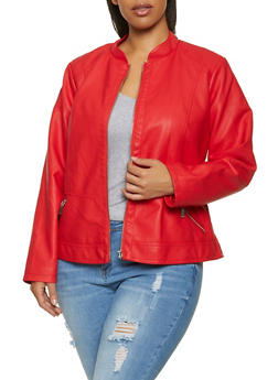 Plus Size Zip Pocket Faux Leather Jacket - 1887051067221