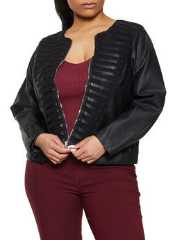 Plus Size Mesh Detail Faux Leather Moto Jacket - 1887051067878