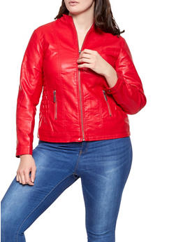 Plus Size Ruched Faux Leather Moto Jacket - 1887051069000
