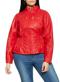 Plus Size Ruched Moto Jacket - 1887051069262