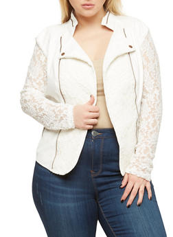 Plus Size Faux Leather Lace Blazer - 1887074002174