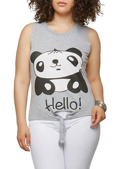 Plus Size Hello Goodbye Panda Graphic Top - 1910033871659