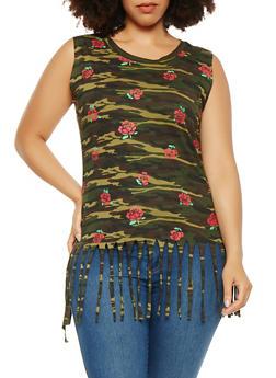 Plus Size Floral Camo Fringe Tank Top - 1910033871808