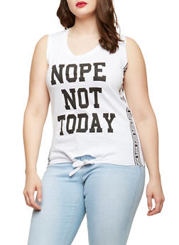 Plus Size Nope Not Today Graphic Top - 1910033878130