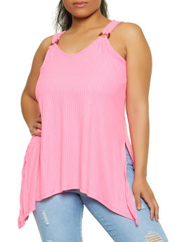 Plus Size Sharkbite Hem Sleeveless Top - 1910038340175