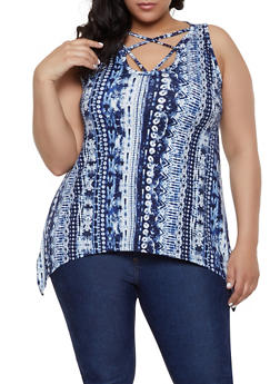 Plus Size Printed Caged Sharkbite Top - 1910038349313