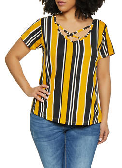 Plus Size Caged Printed Tee - GOLD - 1910038349338
